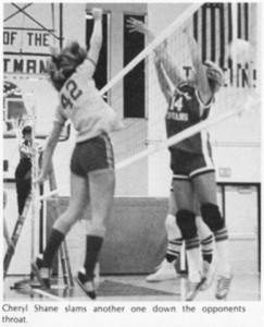 Cheryl Shane hammers home a spike during the inaugural season for volleyball at Norwayne in 1975. That was also the first year the OHSAA had a State Volleyball Tournament and the Bobcats made a strong tourney run, reaching the regional final under head coach Anna Syrios, who passed away earlier this summer. 1975-76 Norwayne High School Yearbook photo